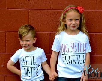 big sister shirt; big sister; big sister little brother; big sister announcement shirt; big sister to a little mister; little brother shirt