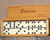 1 Dollar Shipping! Vintage Dominoes With Case