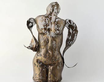 Nude Female Torso -Contemporary art - Metal home decor Sculpture - Sculpture lighting - metal art - free standing