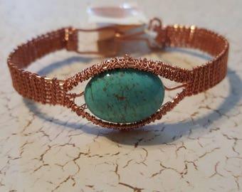 Woman's copper, Marchasite, copper woven, copper wrapped anniversary gift bracelet