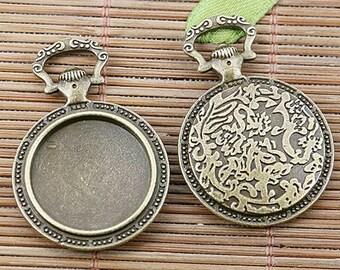 6pcs antiqued bronze color round cabochon settings EF2466