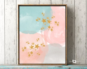 Abstract Watercolor Painting, Gold Stars Wall Art, Abstract Watercolor Art, Giclee Abstract Watercolor Print, Abstract Painting