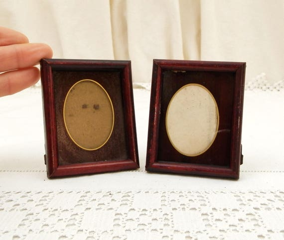 Pair of Matching Tiny Small Antique French Wooden and Glass Portrait Frames, Maroon Picture Frame from France, Victorian Photograph Display