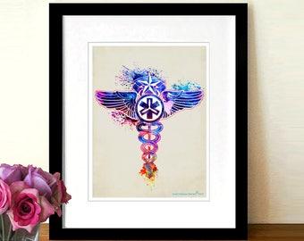 "Certified Flight Registered Nurse - Caduceus - CFRN logo, Watercolor, 8.5""x11, Medical print, Registered Nurse Gift,Flight Medic,Aeromedical"