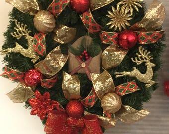 Christmas Wreath -Deer wreath-artificial greenery wreath-holiday door decoration-Christmas door hanger-holiday wreath