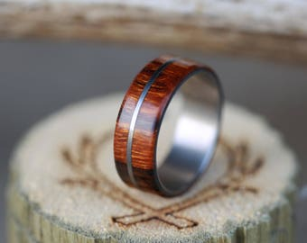 "The ""Golden"" - Men's Titanium Wedding Band with Wood Overlay and Titanium Inlay - Staghead Designs"