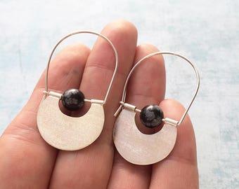 Sterling silver hoop earrings - half moon earrings - tribal earrings - geometric earrings - obsidian