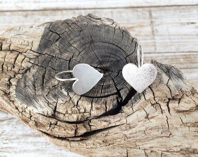 Sterling silver heart - hook heart earrings - drop heart earrings - valentine heart earrings - heart earrings dangle