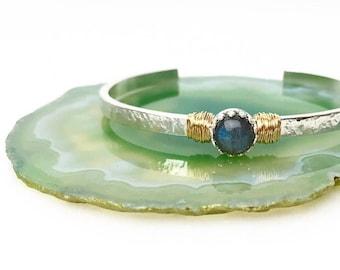 Labradorite Cuff Bracelet / Gift for Wife / Silver and Gold Gemstone Cuff Bracelet Gift for Mom, Sister, Daughter / Mixed Metal Labradorite
