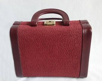 Burgundy Overnight Bag or Vanity Case