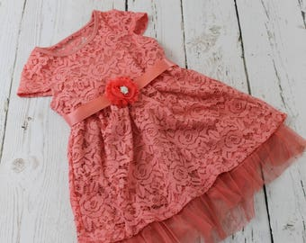 Coral Flower Girl Dress Rustic Flower Girl Dress Coral Jr Bridesmaid Dress Coral Country Flower Girl Dress Coral Lace Flower Girl Dress