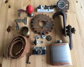 Lot #11 Assemblage Steampunk Industrial Found Object Altered Art, 17 Pcs. Camera, Gears, Sewing Machine Parts, Switch Flask, Electrode