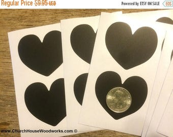 Summer SALE 100 Small Heart Shape Chalkboard Stickers, Blackboard Stickers, Vinyl Black, Chalkboard Labels, Mason Jar Labels, Wedding Decor,