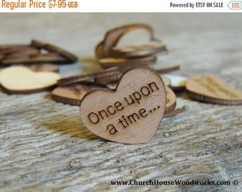 """Summer SALE 100 Once upon a time 1"""" Wood Hearts, Wood Confetti Engraved Love Hearts- Rustic Wedding Decor- Table Decorations- Small Wooden H"""