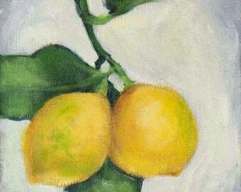 "Lemons Painting, Lemons Original Still  Life Painting, Acrylic on Canvas 6 x 6"" - ""Two Lemons"""