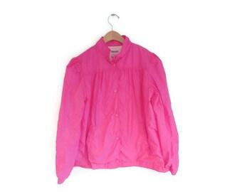 Vintage windbreaker 1980s size Large Womens Hot Pink