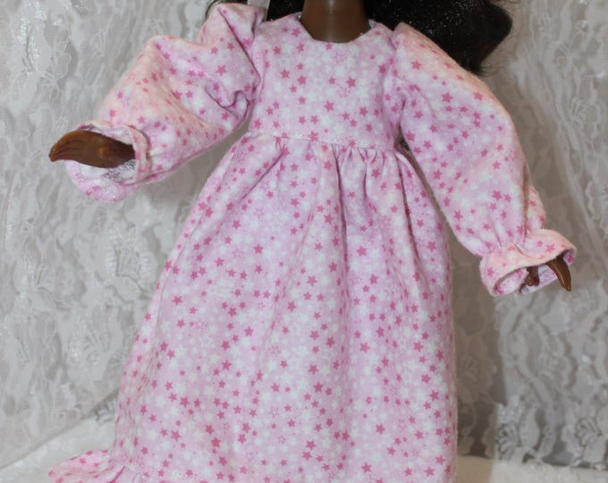 Nightgown with Tiny Pink and White Stars Fleece Pajama's,. Handmade to fit the wellie wisher and Heart to Heart doll Free Shipping