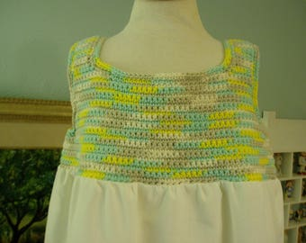 Hand Crochet Top w/ Vintage Pillowcase Bottom Jumper, Baby size 24 month