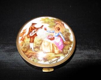 Limoges Powder Compact Fragonard, Stamped Made in France, french antique porcelain courting couple case vintage