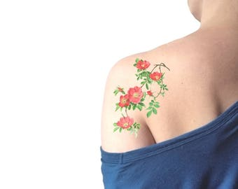 Red Rosehip drooping big temporary tattoo / floral illustration tattoo / vintage flowers temporary tattoo / botanical back shoulder tattoo