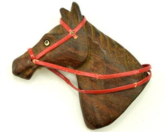 Large 1940s Carved Wood Horse Head Brooch ~ Lot 1613