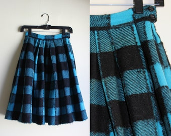 Black and Blue Wool Mohair Plaid Skirt ||| 1950s ||| XSmall
