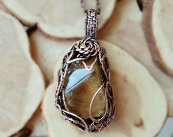 Copper Wire Wrapped pendant FREE SHIPPING, citrine.