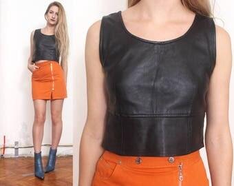 90s black leather minimal crop top vest xs s