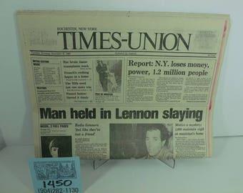 Dec.8,1980-New York/Rochester Times-Union-John Lennon's Death Newspaper