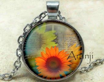 Sunflowers, sunflower pendant, sunflower necklace, sunflower photo pendant, sunflower art pendant, Pendant #PL192P