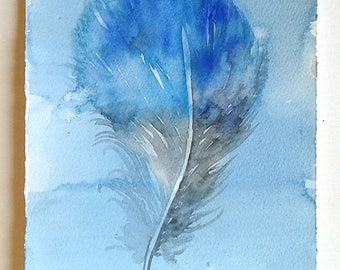 "Blue feather painting, Watercolour Feather illustration, Feather Wall Art, Small watercolours 7,5 x 11""/ Nature painting, Home and Living"