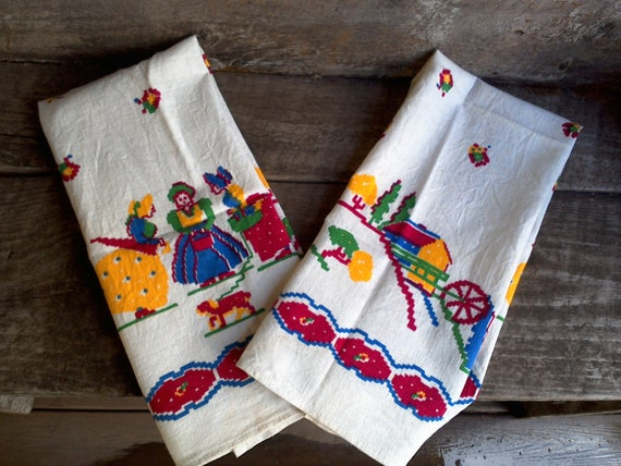 Vintage towels kitchen towels set of 2 towels startex towels Linen Cotton housewarming gift christmas gift new home gift kitchen decor towel