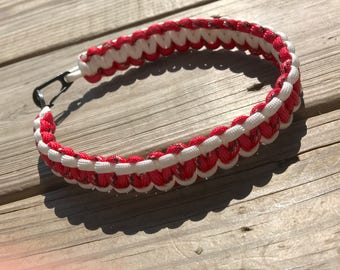 Red and White Paracord Keychain Lanyard