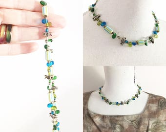 Green blue fish necklace