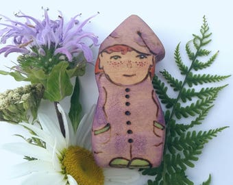 Lavender lullaby Gnome, Wooden Waldorf doll, Wooden gnome, gnome home doll, pretend play, dollhouse gnome, Wooden Waldorf Toy