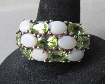Vintage 3-Row Opal & Peridot Wide Band Sterling Silver Ring, Size 8