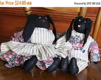 Country cottage decor, Black bunnies, handmade Bunnies, Handmade Rabbits, Stuffed Animal, Farmhouse Decor, Country Decor, pair of bunnies