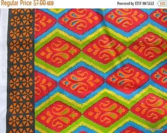Flat 40% Off Indian Fine Cotton Sari Border Multicolor Paisley Block Print Dress Fabric