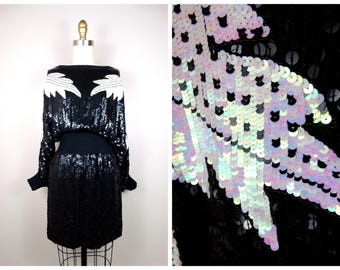70s 80s Sequin Dolman Dress // Oversized Slouchy Sequined Mini Dress // Black and Iridescent White Dress