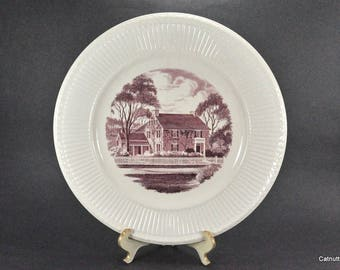 Wedgwood Sibley House Red and White Commemorative DAR Plate Etruria England