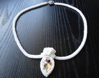 "Necklace ""Crystal flower"" white OOAK"