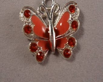 Sterling Silver red rhinestone Butterfly
