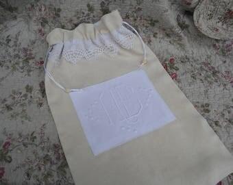 antique bed linen laundry bag Ecru monograms ME old lace