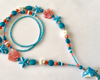 OBC010 Hawaiian Ocean Blue Turquoise and Peach Dolphin Lanyard