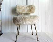 A pretty cream boudoir chair, moumoute chair, vintage french, mid century furniture