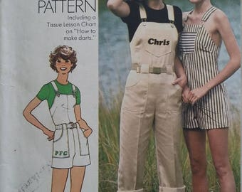Vintage Simplicity 7329 Sewing Pattern Size 8 Jumpsuit in Two Lengths including Transfer for Embroidery and Tissue Lesson Chart