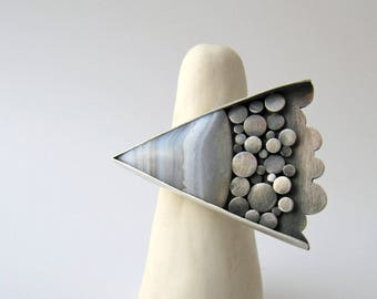 Something Like Grace - sterling silver blue lace agate contemporary ring, pale powder blue unique organic oxidised gemstone statement ring
