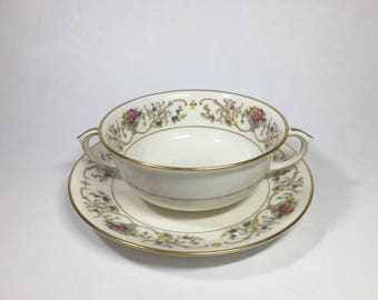 "Lamberton Fine China ""Dorothea"" Footed Cream Soup Bowl and Saucer, Lamberton Double Handled Bowl"