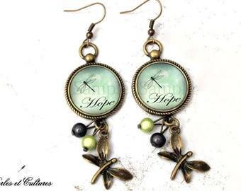 Earrings retro ღ cabochonღ ღLibellule glass beads Hopeღ hope vintage black ღvert ღ ღ