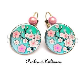 Sakura - flower rose cabochon earrings